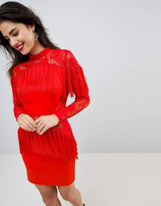 Asos DESIGN Ultimate Fringe Long Sleeve Lace Mini Dress