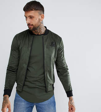 SikSilk bomber jacket in khaki exclusive to ASOS