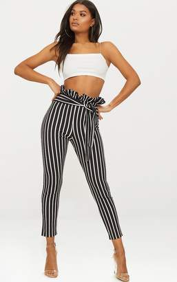 5a1592ee0da31 PrettyLittleThing White Pinstripe Paperbag Skinny Trousers