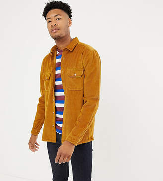 Asos Design DESIGN Tall cord overshirt in mustard