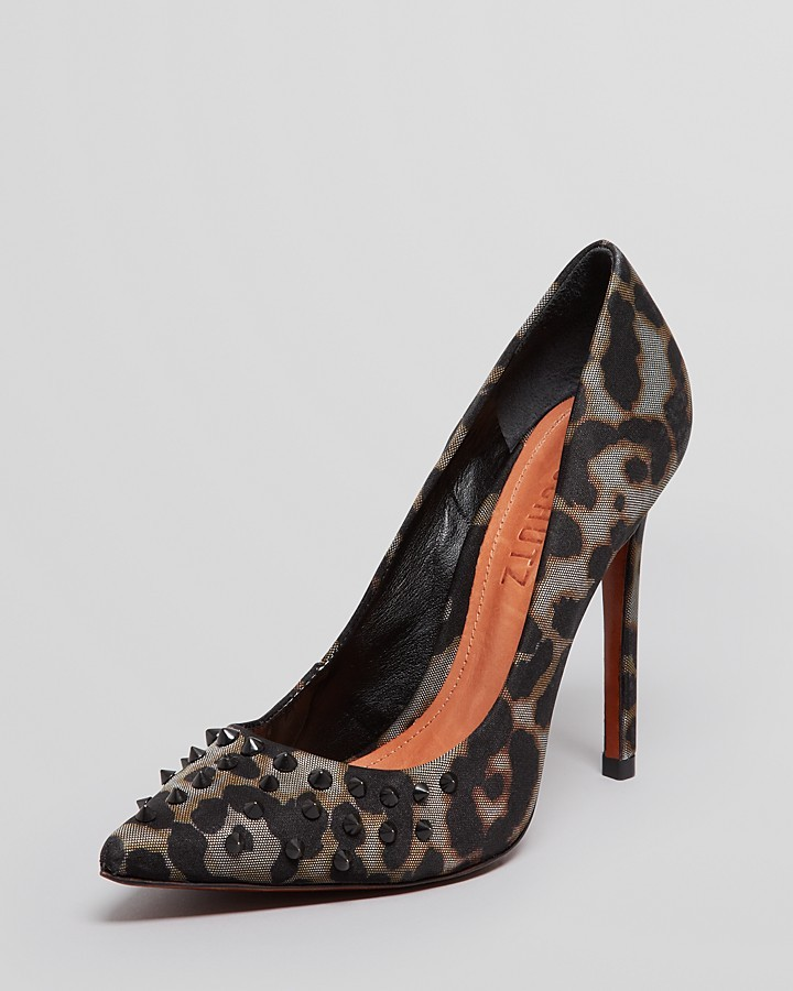 Schutz Pointed Toe Leopard Pumps - Imera Studded High Heel