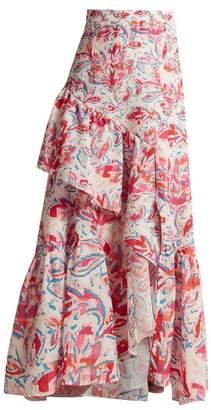 Peter Pilotto Leaf-print ruffled crepe maxi skirt