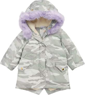 J.Crew crewcuts by Primaloft(R) Camo Puffer Jacket with Removable Faux Fur Trim