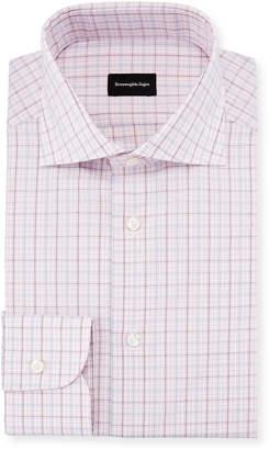 Ermenegildo Zegna Multi-Check Dress Shirt, Pink