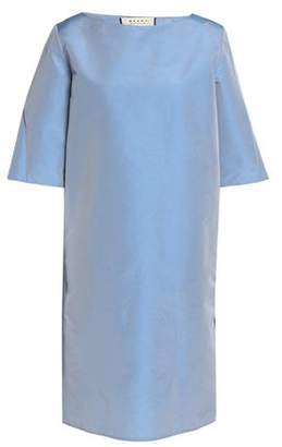 Marni Woman Pleated Textured-taffeta Dress Light Blue Size 40