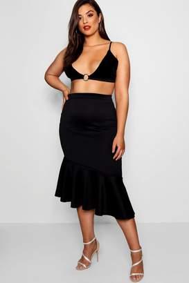 boohoo Plus Asymmetric Ruffle Midi Skirt