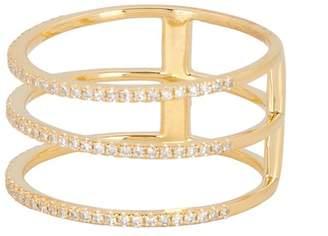Ron Hami 14K Yellow Gold Pave Diamond Triple Band Ring - 0.28 ctw