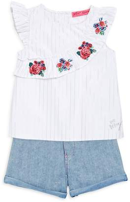 Betsey Johnson Little Girl's Two-Piece Striped Top and Denim Shorts Set