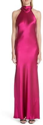 GALVAN Silk Mock Neck Gown