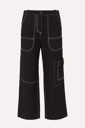 3.1 Phillip Lim Cropped Straight-leg Cotton And Wool-blend Drill Pants - Black