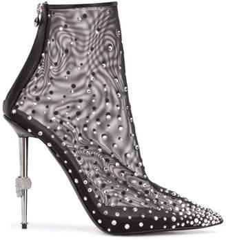 Philipp Plein crystal embellished mesh ankle boots