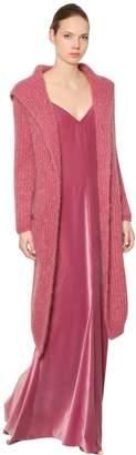 Max Mara Hooded Mohair Rib Knit Long Cardigan