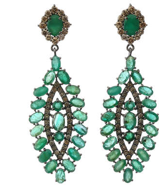 Bavna Silver Marquise Drop Earrings with Green Emerald & Full-Cut Diamonds