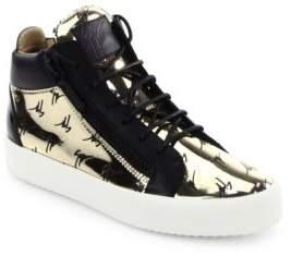 Giuseppe Zanotti Metallic Logo Embossed Leather Sneakers