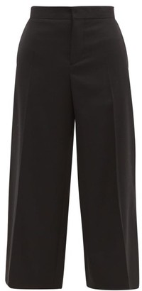 Marni Contrast Stitch Cropped Wool Trousers - Womens - Black
