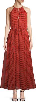 Diane von Furstenberg Dot-Print High-Neck Maxi Dress