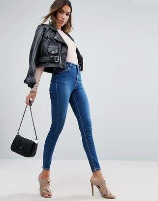 ASOS RIDLEY Skinny Jeans in Hester Dark Stonewash with Contrast Threads $43 thestylecure.com