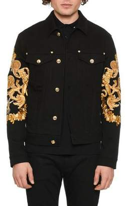 Versace Men's Baroque-Print Denim Jacket