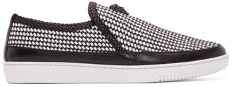 Versace Black and White Leather Woven Slip-On Sneakers
