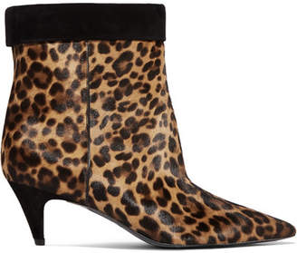 Charlotte Leopard-print Calf-hair Ankle Boots - Leopard print