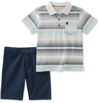 Calvin Klein 2-Pc. Striped Polo & Shorts Set, Baby Boys