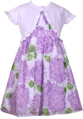 Bonnie Jean Girls 4-6x Hydrangea Print Dress & Cardigan Set
