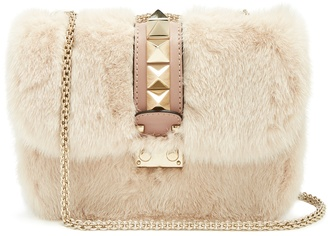 Lock small mink-fur shoulder bag