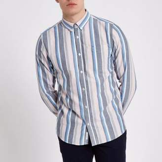 River Island Mens Pink stripe long sleeve button-down shirt