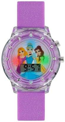 Disney Princess Disney Princess Flashing Digital Dial Purple Sparkle Silicone Strap Kids Watch