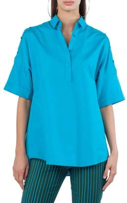 Akris Punto Button Shoulder Kimono Blouse