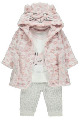 CAT George Pale Pink Dressing Gown and Pyjamas Set