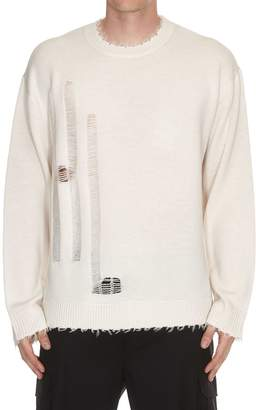Helmut Lang Distressed Logo Crew Neck Sweater