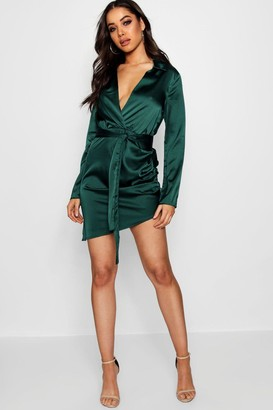 boohoo Satin Wrap Detail Dress