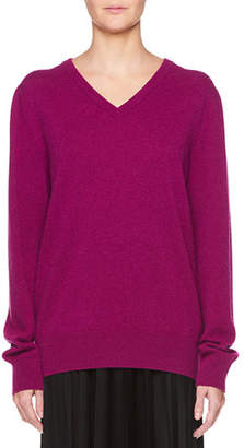 The Row Maley V-Neck Long-Sleeve Cashmere-Blend Sweater