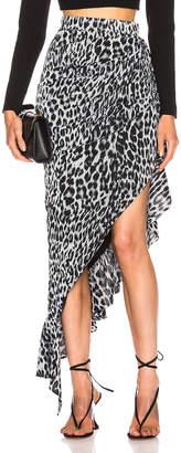 Rasario Draped Leopard Midi Dress in Grey   FWRD