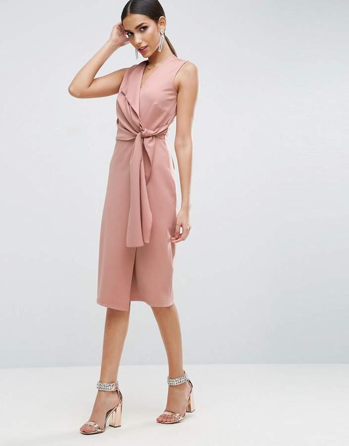 AsosASOS Wrap Front Midi Pencil Dress with Tie Detail