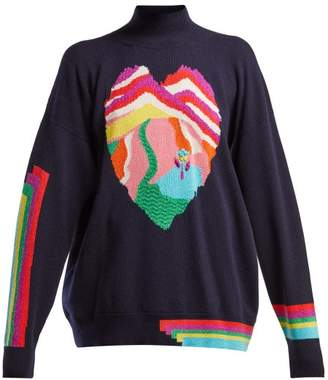 Barrie - Dream In Space Heart Intarsia Cashmere Sweater - Womens - Navy Multi