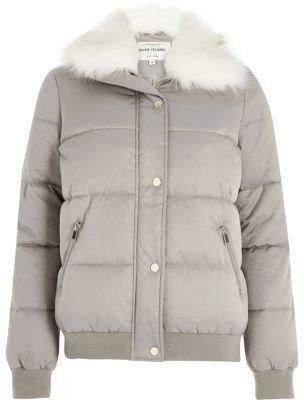 River IslandRiver Island Womens Grey faux fur trim padded jacket