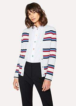 Paul Smith Women's Light Blue Stripe Knitted V-Neck Cardigan