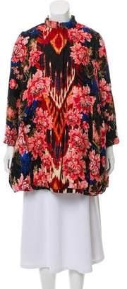 Oscar de la Renta Silk & Wool Floral Print Coat