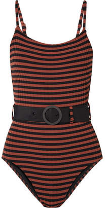 Solid & Striped The Nina Belted Striped Ribbed Swimsuit - Black