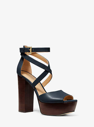 Michael Kors Burke Leather Platform Sandal