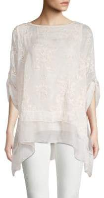 Le Marais Silk Rolled-Cuff Drape Top