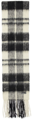 Saint Laurent White and Black Plaid Small Scarf