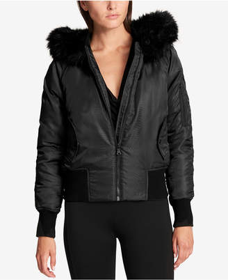 DKNY Faux-Fur-Trim Down Bomber Jacket