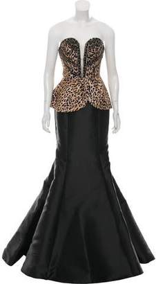 Mac Duggal Strapless Animal Print Gown w/ Tags