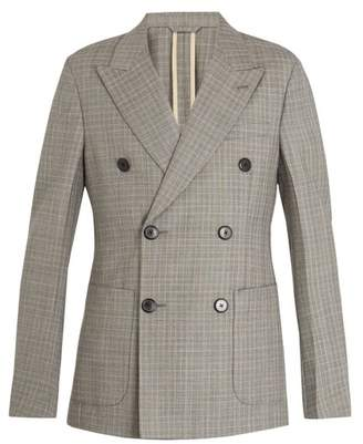 Prada Double Breasted Checked Wool Blend Blazer - Mens - Grey Multi