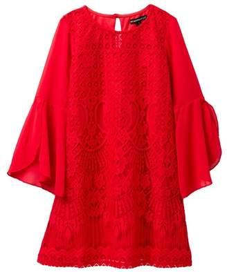 My Michelle mymichelle Tulip Sleeve Crochet Dress (Big Girls)