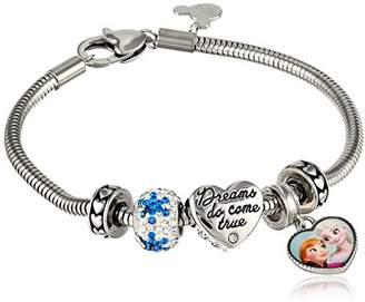 Disney Girls' Frozen Stainless Steel Bead Bundle Charm Bracelet