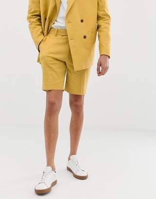 Asos Design DESIGN slim suit short in mustard linen